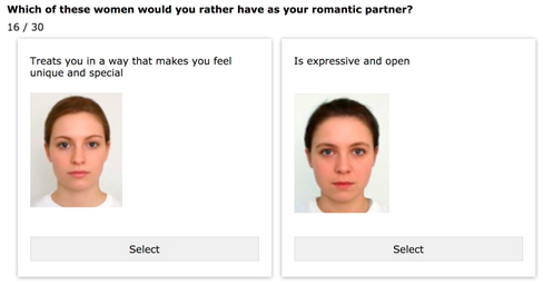Two pictures of woman with question - which of these women would you rather have as your romantic partner?