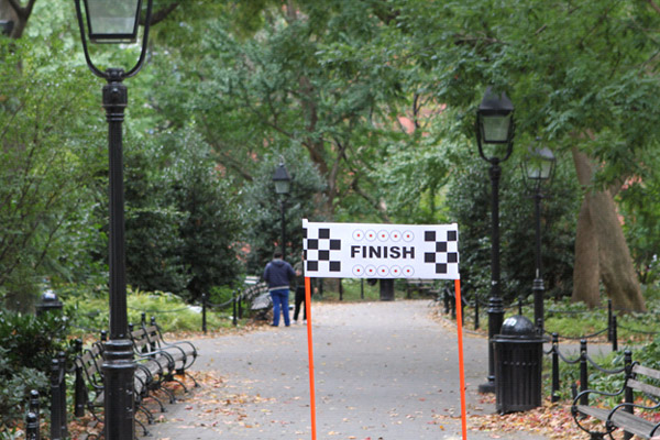 image of a finish line sign in a park